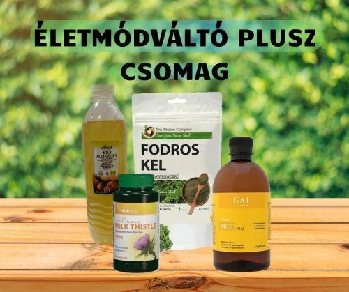 ÉLETMÓDVÁLTÓ PLUSZ CSOMAG (Fodros kel por, Almaecet Bio 500ml, Vitaking Máriatövis kapszula, GalPrémium MCT olaj)