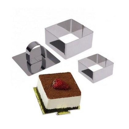 Rozsdamentes acél négyzet alakú sütemény (Mousse) forma